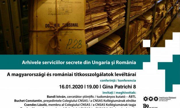 """Conferință: Arhivele serviciilor secrete din Ungaria și România ÁBTL-CNSAS, în cadrul anului comemorativ """"30 de ani în libertate"""" @ Institutul Balassi – Institutul Maghiar din Bucureşti"""
