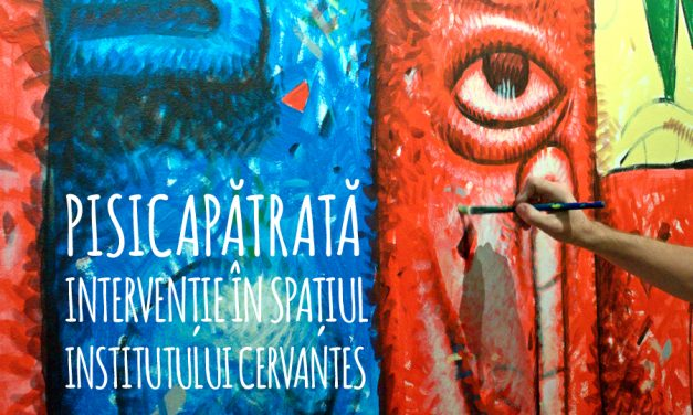 Pisica Pătrată – Intervenție în spațiul Institutului Cervantes din București: trei picturi murale