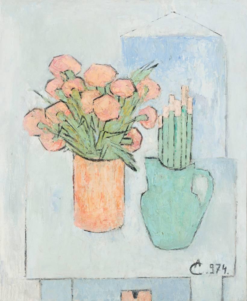 Alexandru CIUCURENCU Natură statică cu flori și pensule 1974