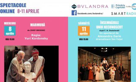 Două spectacole pe texte de excepţie transmise online de Teatrul Bulandra!