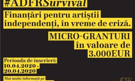 ADFR lansează micro-granturile #ADFRSurvival pentru artiștii independenți din industria cinematografică