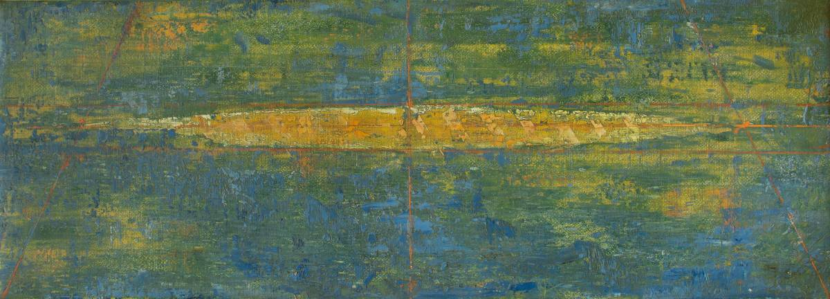 Andrei Rosetti, Island XIV-Traffic, 2017, oil on canvas, 27x75cm