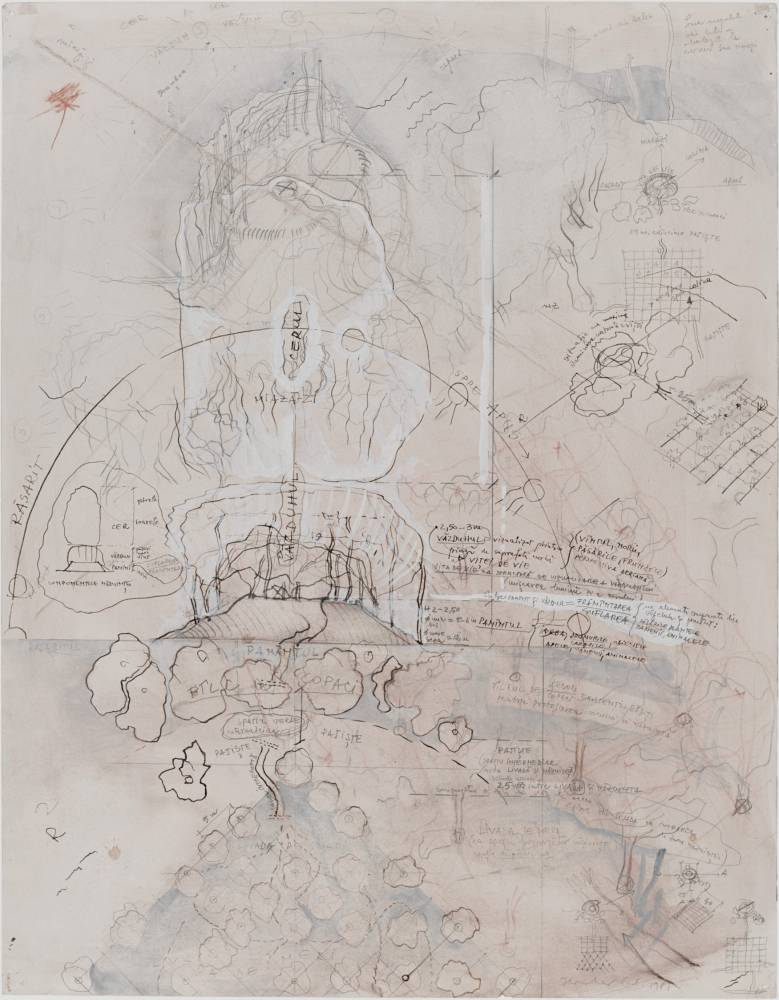 Constantin Flondor, Project for Land, Orchard and Air, 1981, pencil, ink, tempera on paper, 64,5x50cm