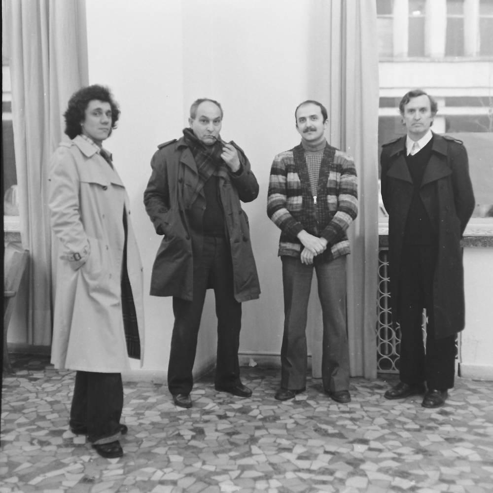 Romeo Zamfirescu, Spiru Chintila, Titu Dragutescu si Mihai Rusu, Expozitie Pictura, GAMB, martie '78, Foto credit Eugeniu Lupu