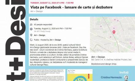 """Lansare de carte și dezbatere """"Viața pe Facebook. Dau like deci exist"""" @ Art+Design, Iași"""