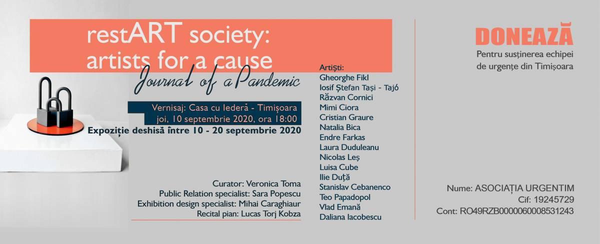 """Expoziție cu scopuri caritabile """"RestART Society: artists for a cause/journal of a pandemic"""" @ Casa cu Iederă din Timișoara"""