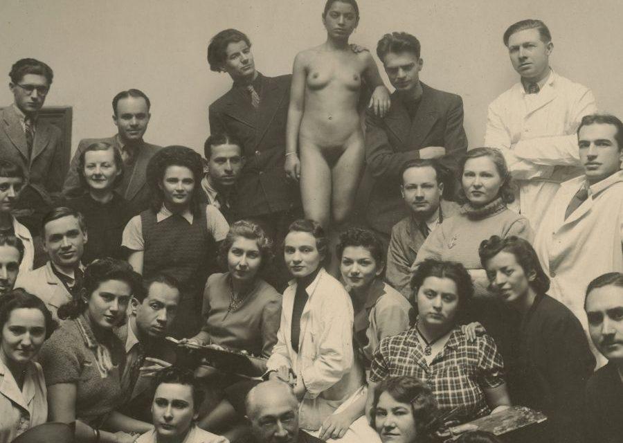 Atelierul lui Camil Ressu cu studenții Magda Smântânescu (Duty), Elvira Pop (Micoș), Vivi (Lili) Văraru, Alexandru (Duțu) Istrati