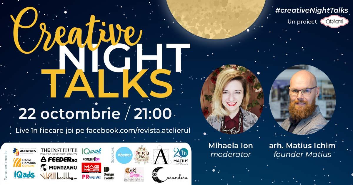 Programul Creative Night Talk în luna octombrie 2020