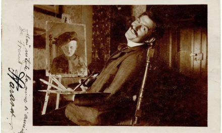 Pictorul Stavru Tarasov, carte poștală fotografică trimisă lui Ioan Cosmovici, semnată olograf