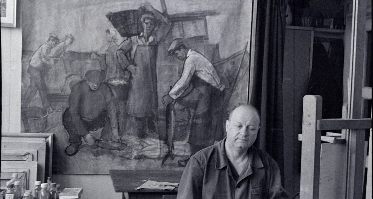 Pictorul Gheorghe Ionescu în atelier