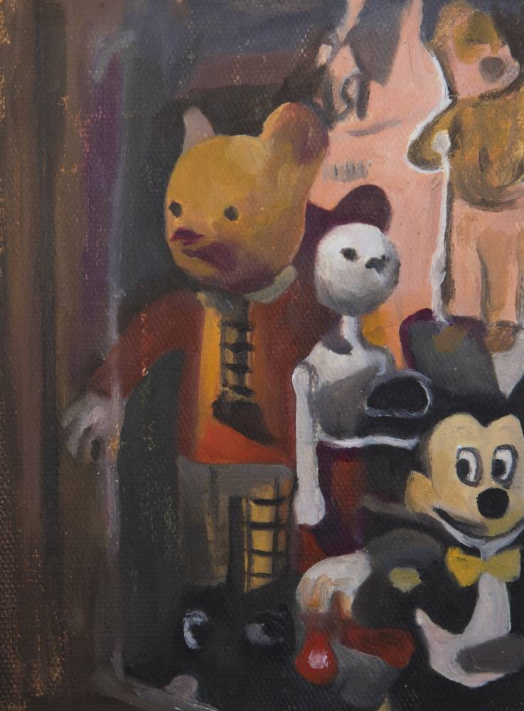 Miniature Ruppert bear and Mickey Mouse, 17x12 cm, oil on canvas, 2019 - Mihaela Mihalache
