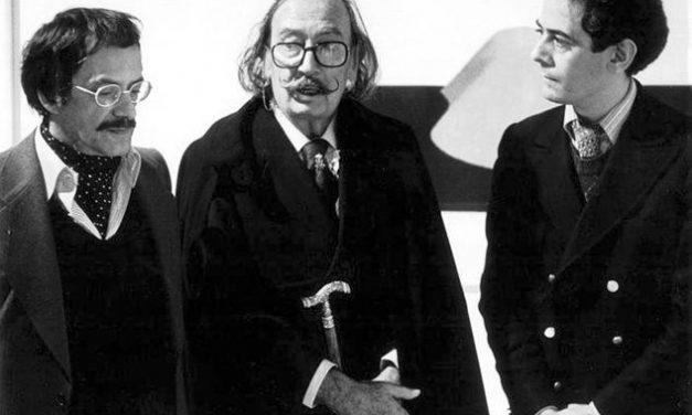 Horia Damian în atelier cu Salvador Dali şi Radu Varia