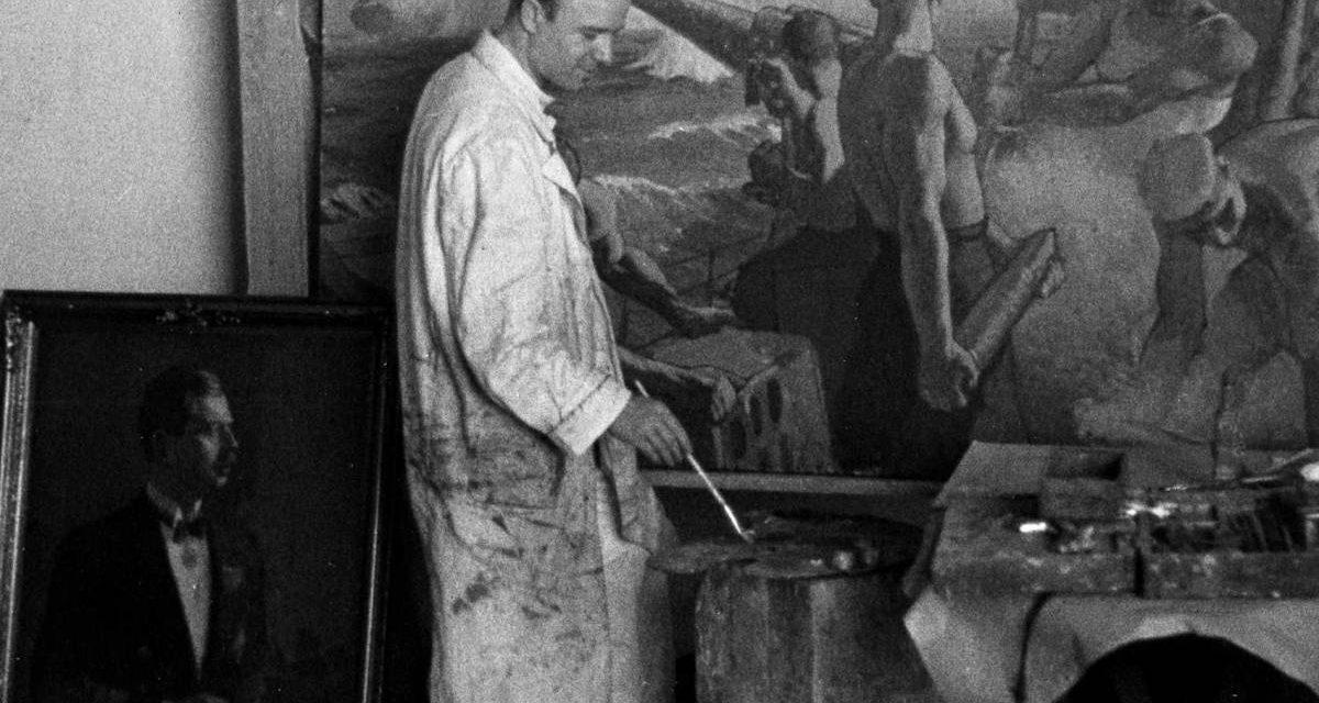 Dimitrie Știubei, Exerciții de artilerie, Palatul Regal, jos stânga, portretul lui Carol II, 1937