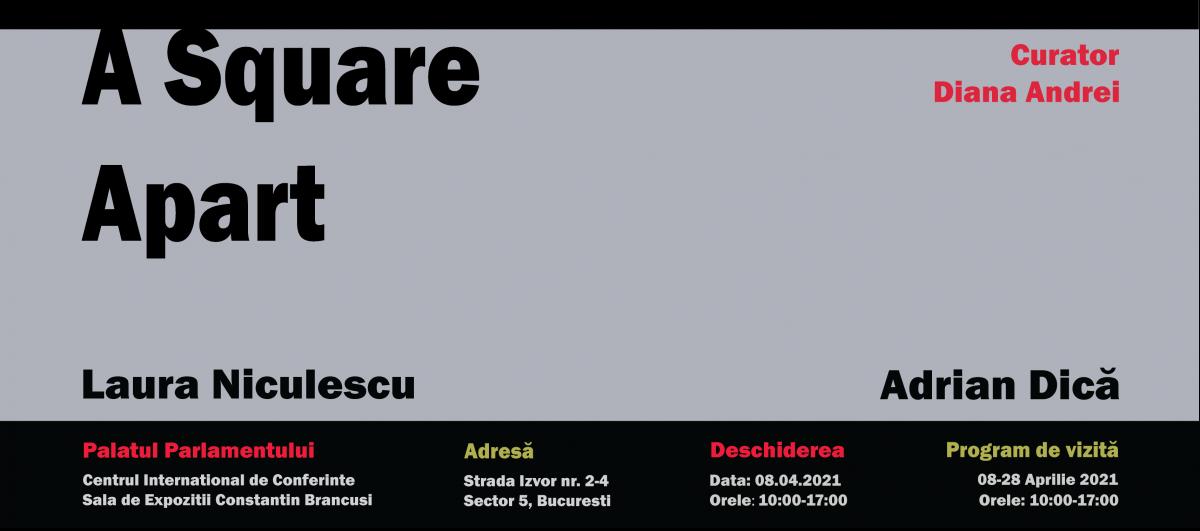 """Expoziție Laura Niculescu & Adrian Dică """"UN PĂTRAT DISTANȚĂ"""" @ Sala de Expoziții Constantin Brâncuși, Palatul Parlamentului"""