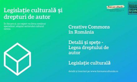 Specializări online: legislație culturală și dezvoltarea audiențelor, pentru artiști, autori, creatori și lucrători culturali @ formare culturală