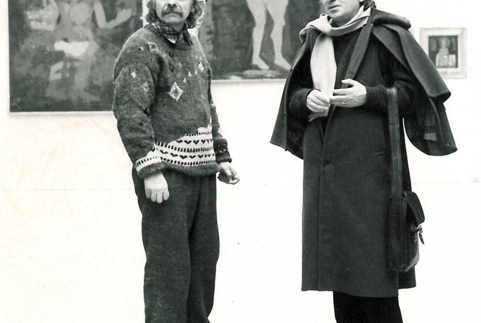Dan Hăulică la vernisajul expoziţiei personale Ilie Boca, sala Dalles, Bucureşti, 1987