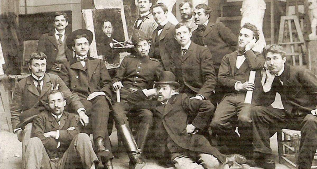 Constantin Brâncuși (jos, cu pălărie) alături de colegii de la Școala Națională de Arte Frumoase din București, sfârșitul secolului XIX