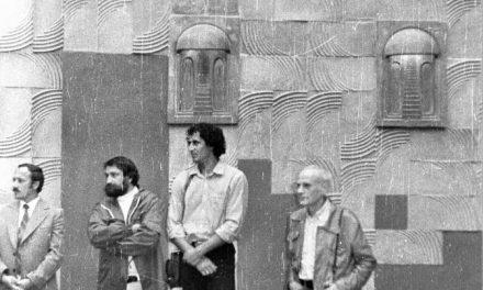 Dumitru Rădulescu (Tzumpi), Virgil Mihăescu și criticul de artă Horia Horșia, Decorațiuni murale, gresie, Clubul Tineretului Mediaș, 1980-1981