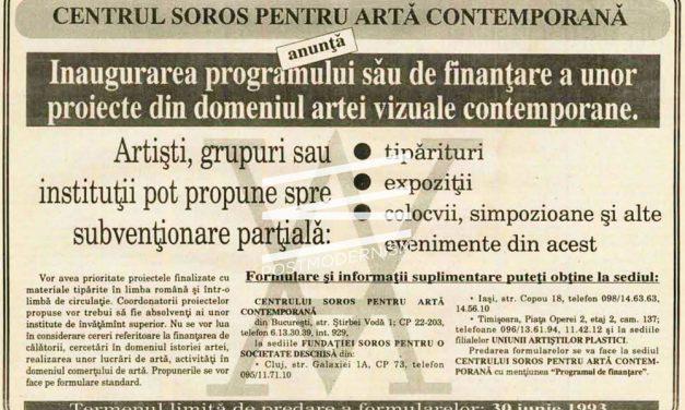 Centrul Soros pentru ArtĂ Contemporană anunță Inaugurarea programului său de finanţare a unor proiecte din domeniul artei vizuale contemporane 1993