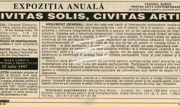 EXPOZIŢIA ANUALĂ Civitas Solis, Civitas Artis, Cetatea Cîlnicului, judeţul Alba 1997