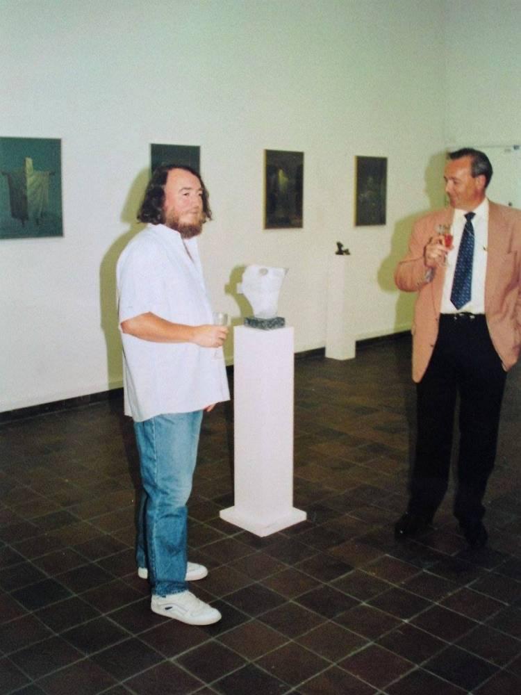 Ion Iancut în Göteborgs Kunstmuseum Konsthallen, Göteborg, Suedia, august - septembrie, 1995, Foto Petrus Mircea Iliescu