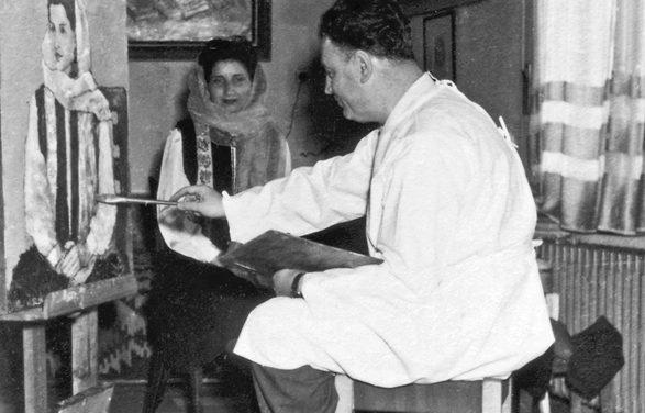 George Ștefănescu-Râmnic În atelier, strada Dinicu Golescu, 1957