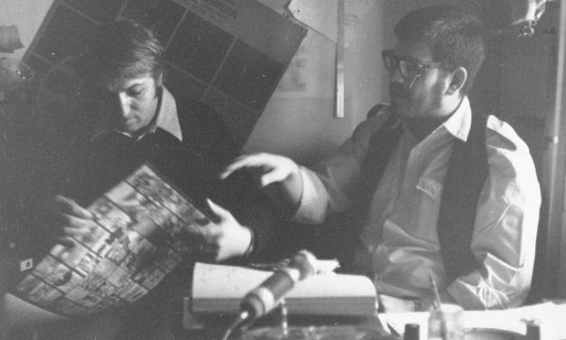 Graficienii George Leolea si Dan Erceanu, anii `70, la o filmare cu regizorul Eugen Gheorghiu