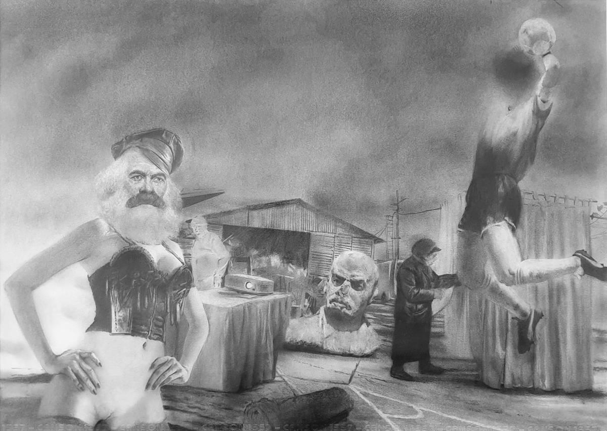 Andrei Tudoran, The Hand of God, 2021, grafit și cărbune pe hârtie, 50 x 70 cm