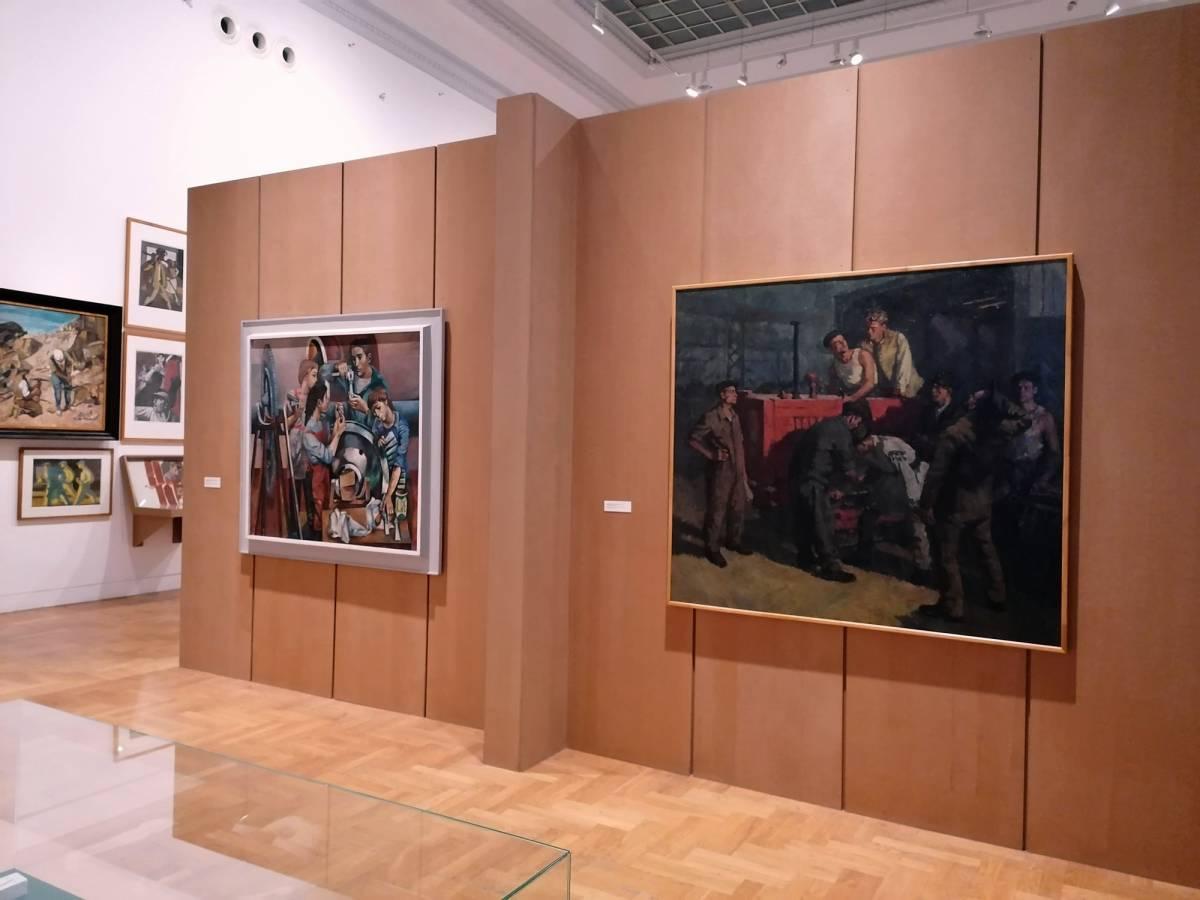 """În dreapta Tiberiu Krausz, """"Tractorul nostru"""", nedatat [1950-1960], din colecția Muzeului Brăilei """"Carol I"""""""